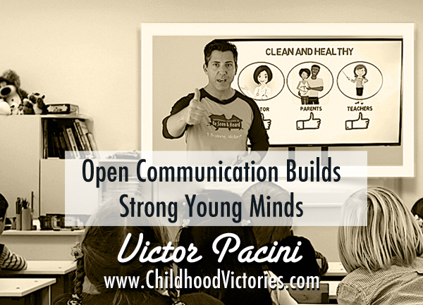 """Black and white image of a man speaking to an audience with a thumbs up encouraging Our Call to Action. The quote across the picture reads, """"Open communication builds strong young minds."""""""